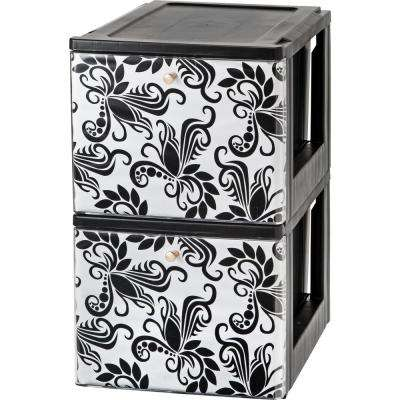 15.5 in. x 13.44 in. Black Stacking File Storage Drawer with Design