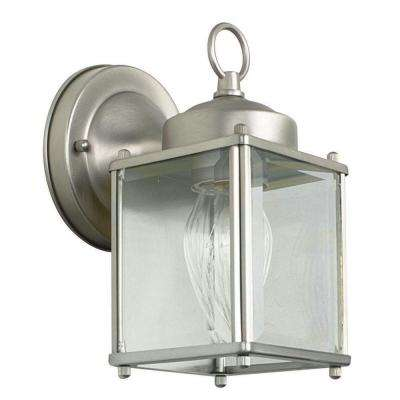 1-Light Satin Nickel Outdoor Lantern with Clear Beveled Glass