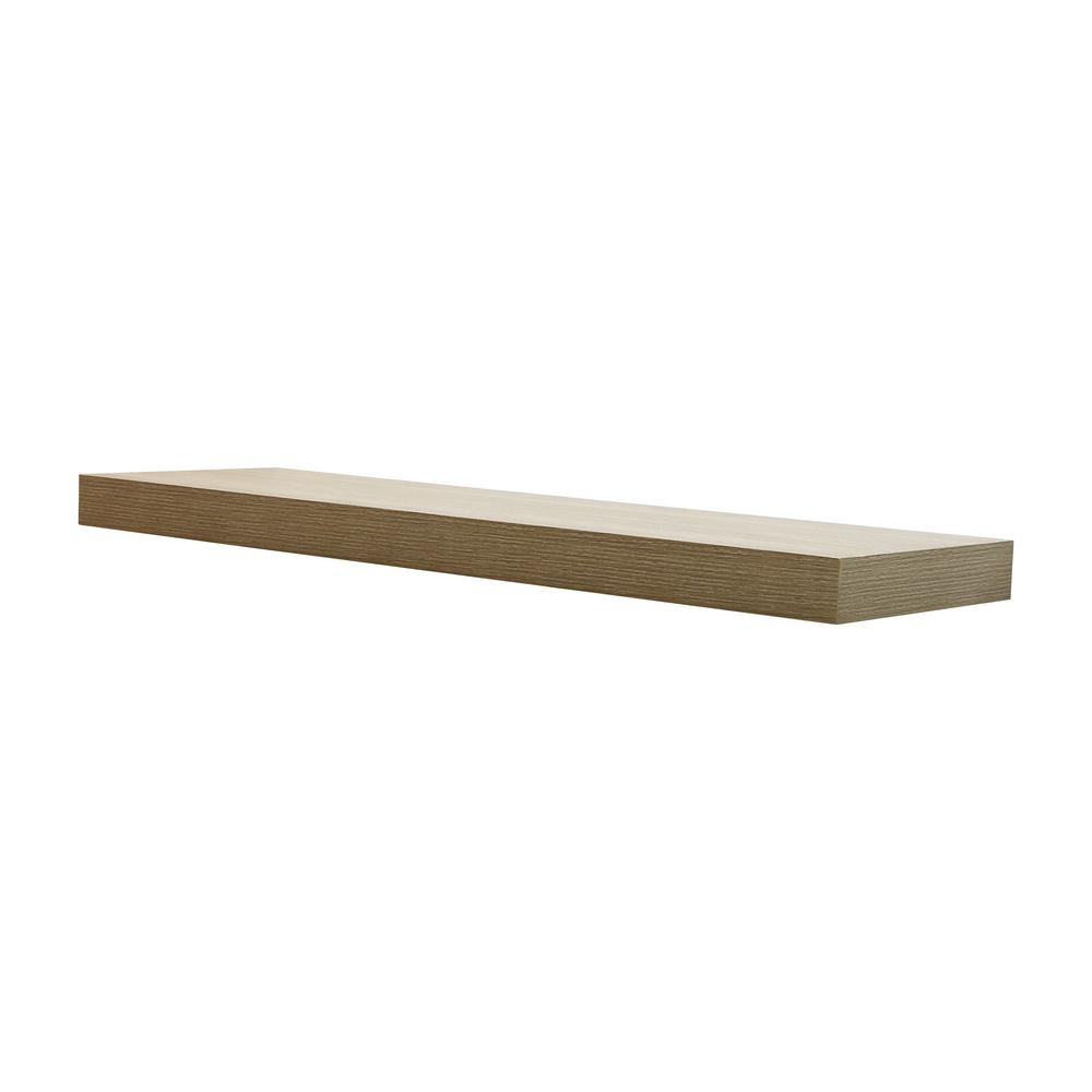 Home Decorators Collection 35.4 in. W x 10.2 in. D x 2 in. H Driftwood Gray Oak Floating Shelf