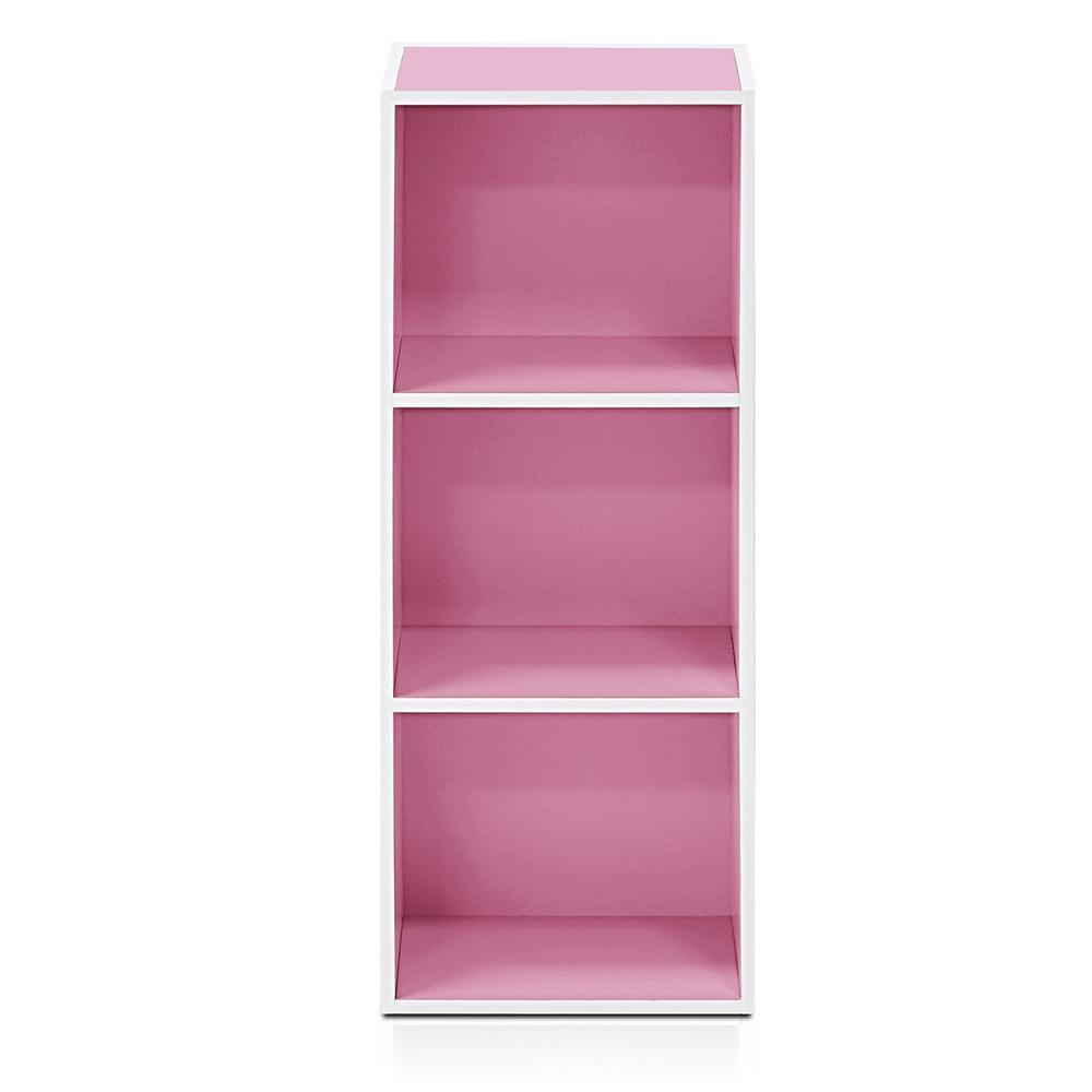 Tropika 31.49 in. Pink/White Faux Wood 3-shelf Standard Bookcase with Storage