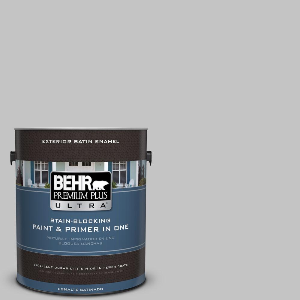 BEHR Premium Plus Ultra 1-gal. #N520-2 Silver Bullet Satin Enamel Exterior Paint