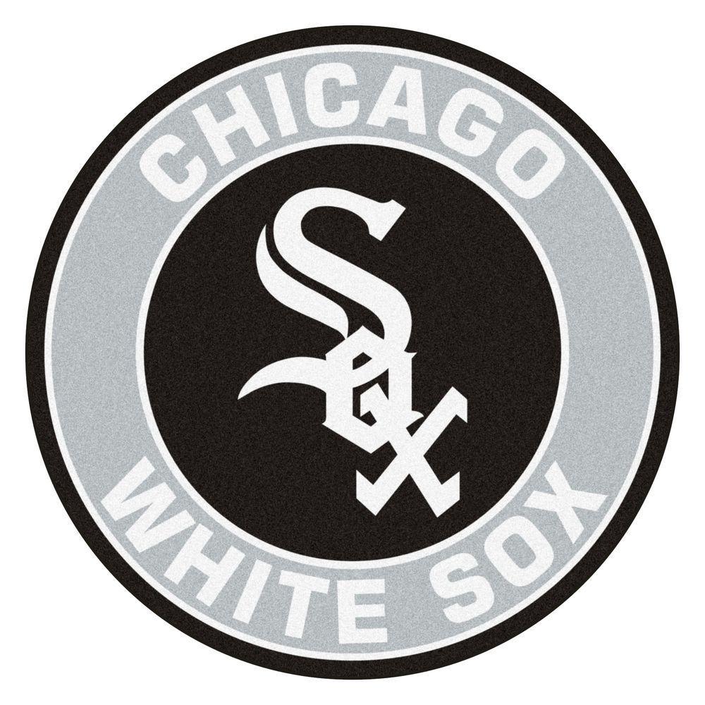MLB Chicago White Sox Gray 2 ft. x 2 ft. Round Area Rug