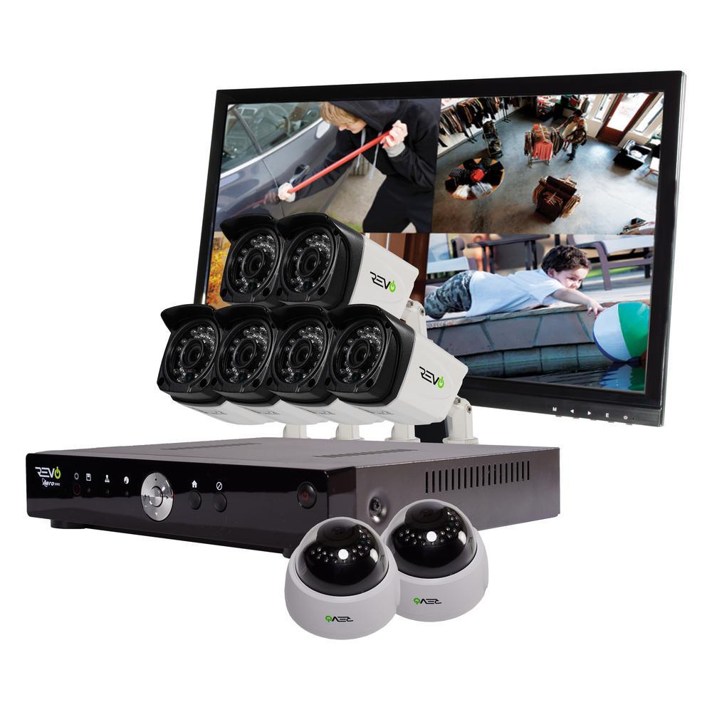 Revo Aero 8-Channel HD 2TB Surveillance DVR with 8 Indoor/Outdoor Cameras