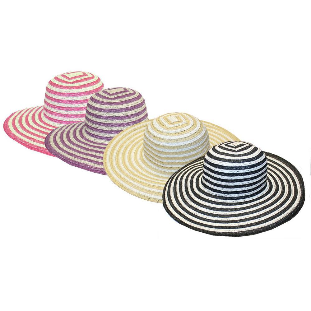 Ladies Tan Striped Straw Hat