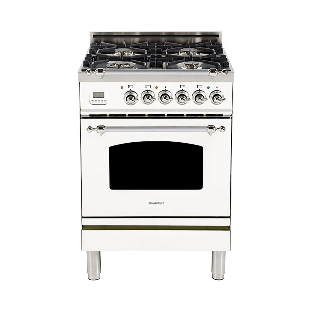 Hallman 24 in. 2.4 cu. ft. Single Oven Dual Fuel Italian Range with True Convection, 4 Burners, LP Gas, Chrome Trim in White