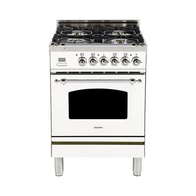 24 in. 2.4 cu. ft. Single Oven Dual Fuel Italian Range with True Convection, 4 Burners, LP Gas, Chrome Trim in White