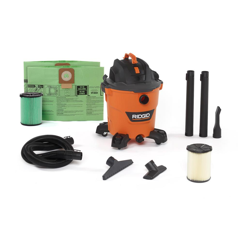 RIDGID 12 Gal. 5.0-Peak HP NXT Wet/Dry Vac with OSHA and HEPA Filtration Kit