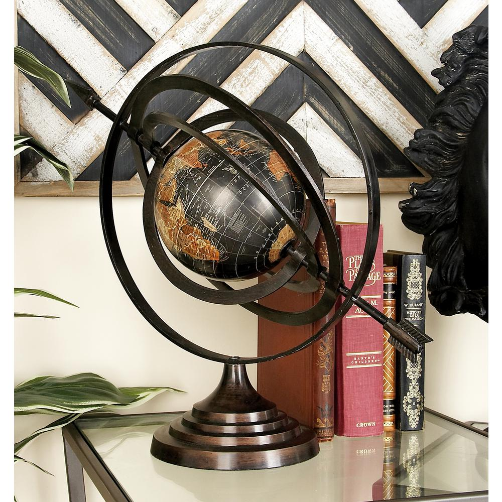 Modern Black Globe and Armillary Sphere with Spear Finial...