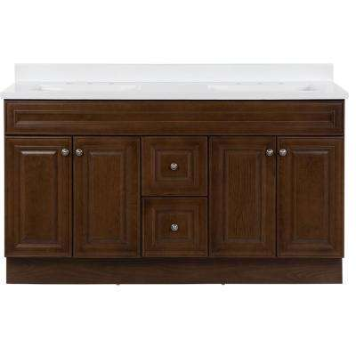 Glensford 61 in. W x 22 in. D Vanity in Butterscotch with Cultured Marble Vanity Top in White with White Basins