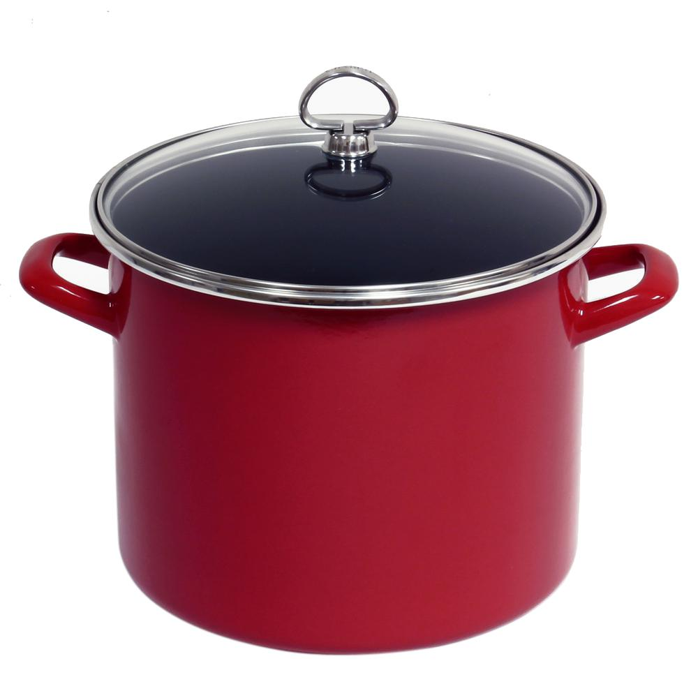 8 Qt. Enamel-On-Steel Stock Pot with Glass Lid in Chili Red