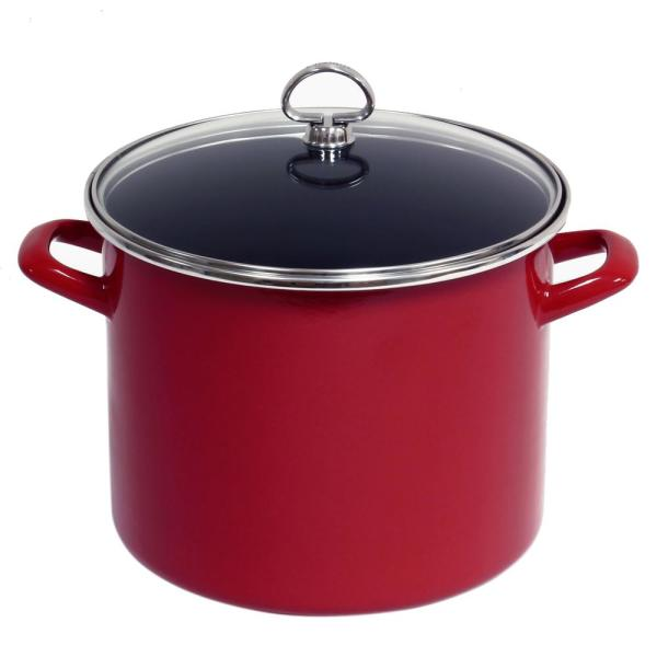 Chantal 8 Qt. Enamel-On-Steel Stock Pot with Glass Lid in Chili