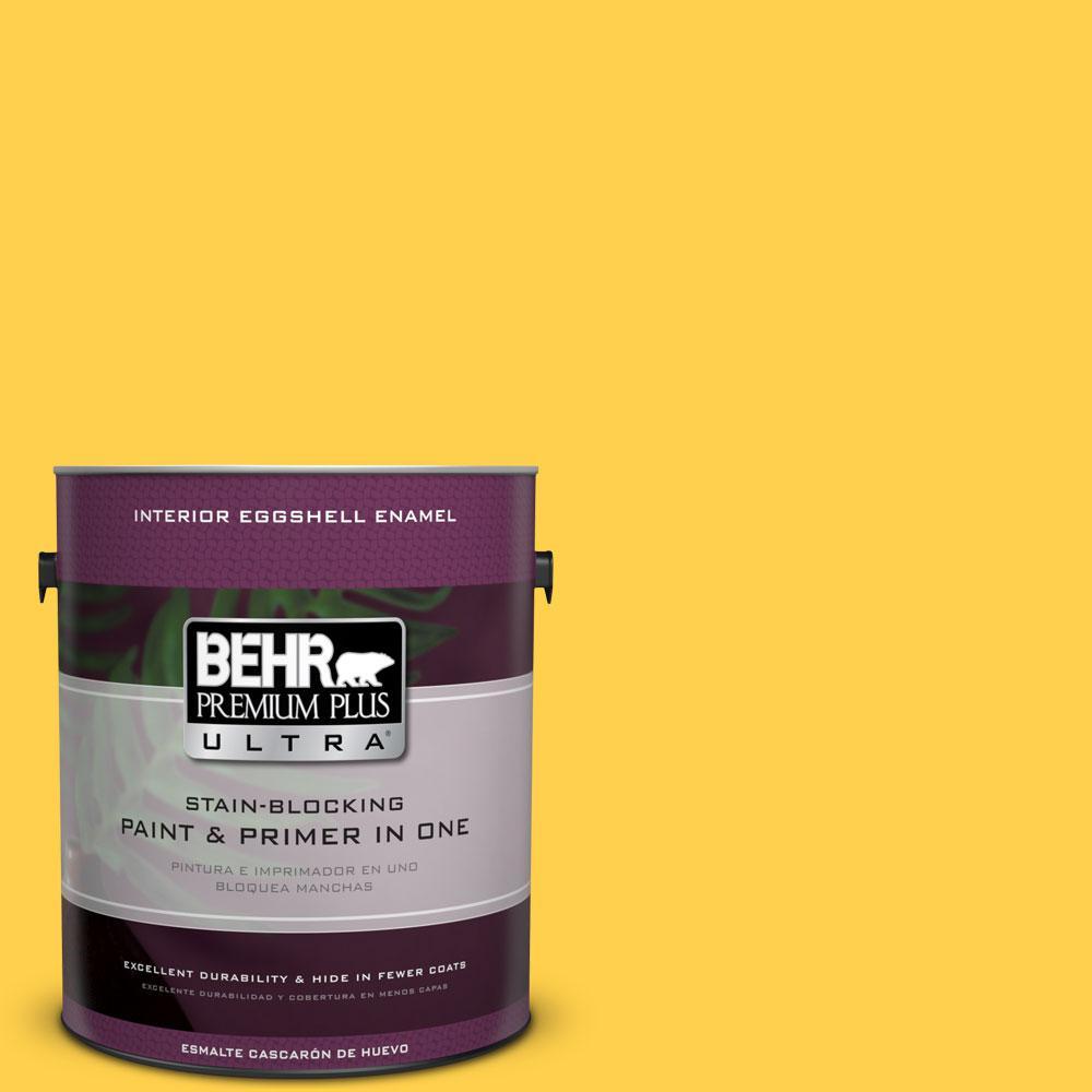 BEHR Premium Plus Ultra 1-gal. #360B-6 Flame Yellow Eggshell Enamel Interior Paint