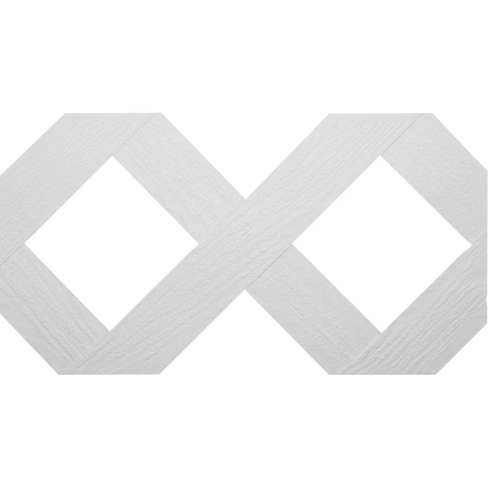 0.159 in. x 47.5 in. x 95 in. Lattice White Vinyl Classic Diamond