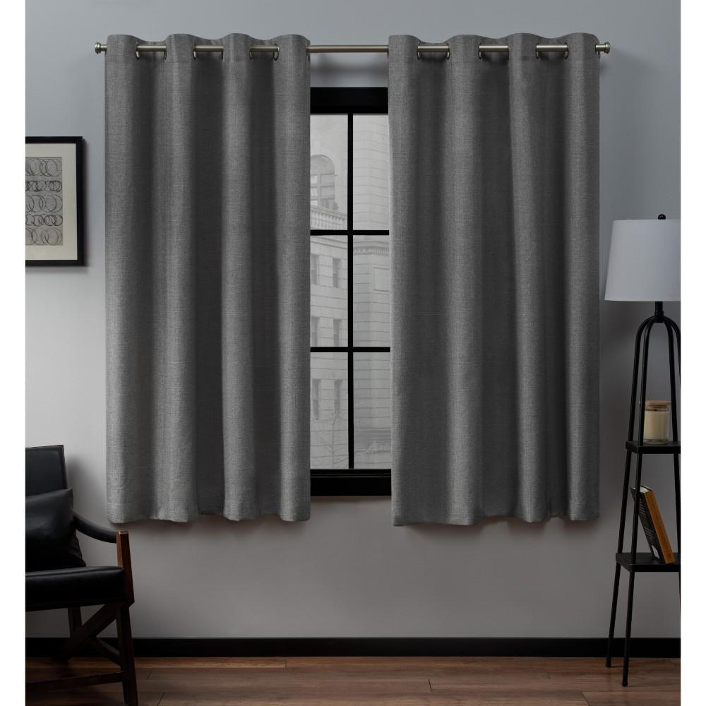 Loha 52 in. W x 63 in. L Linen Blend Grommet Top Curtain Panel in Black Pearl (2 Panels)