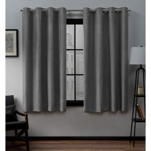 Loha 52 in. W x 63 in. L Linen Blend Grommet Top Curtain Panel in Black Pearl (2 Panels)