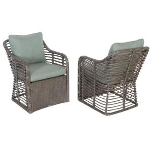 Cane Crossing All-Weather Wicker Patio Chat Chairs with Spa Cushions (2-Pack)