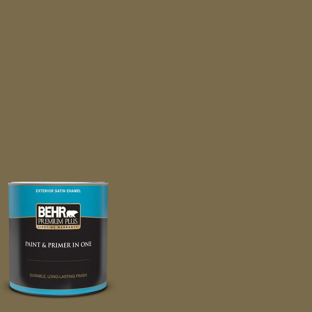 Behr Premium Plus 1 Qt Ppu8 01 Olive Satin Enamel Exterior Paint And Primer In One 934004 The Home Depot