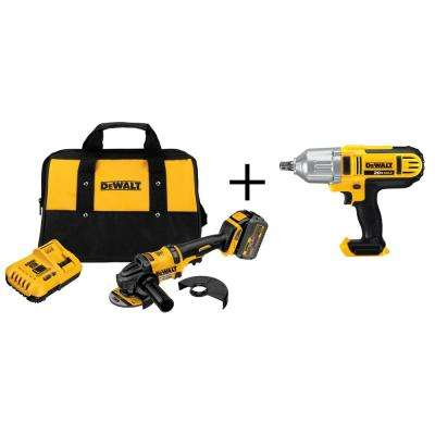 FLEXVOLT 60-Volt Lithium-Ion Cordless 4-1/2 in. Angle Grinder Kit with Bonus 20-Volt 1/2 in. Drive Impact Wrench
