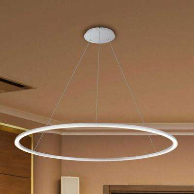 Tania Round 39 in. 54-Watt Silver Integrated LED Chandelier