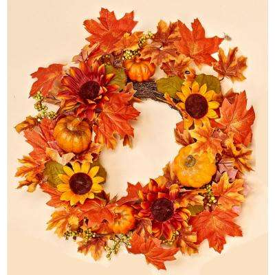 18 in. WP Gourd Berry Floral Wreath
