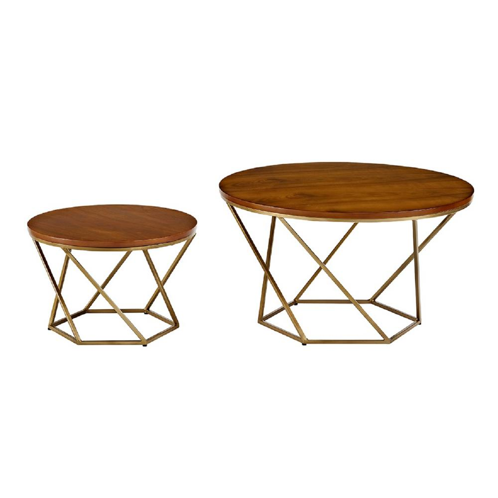 Walker Edison Furniture Company Geometric Wood Nesting Coffee Tables In Walnut And Black Hdf28clrgwbl The Home Depot