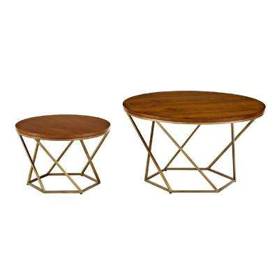 Geometric Wood Nesting Coffee Tables in Walnut and Gold