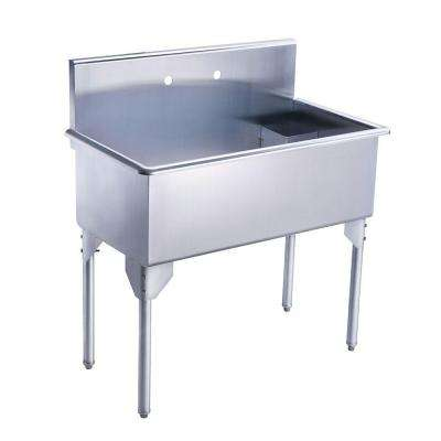 Pearlhaus All-in-One Freestanding Stainless Steel 39-1/8 in. 2-Hole Single Bowl Kitchen Sink in Brushed Stainless Steel
