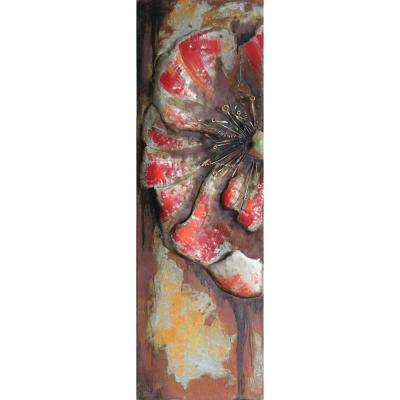 """60 in. x 18 in. """"Red Poppy Detail"""" Mixed Media Iron Hand Painted Dimensional Wall Art"""