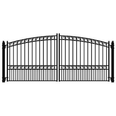 Paris Style 16 ft. x 6 ft. Black Steel Dual Driveway Fence Gate