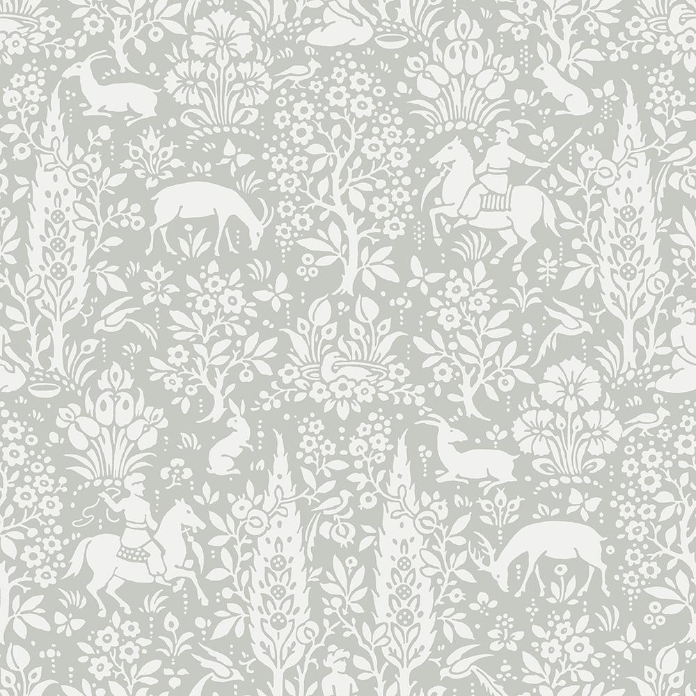 56.4 sq. ft. Sherwood Light Grey Woodland Wallpaper