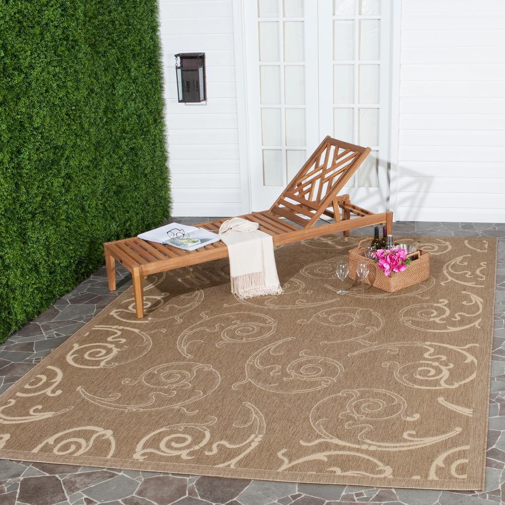 Safavieh Courtyard Brown/Natural 5 ft. 3 in. x 7 ft. 7 in. Indoor/Outdoor Area Rug