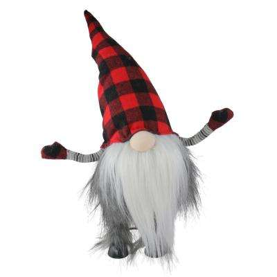 16 in. Bobbling Red and Black Buffalo Plaid Christmas Gnome with Metal Spring Frame