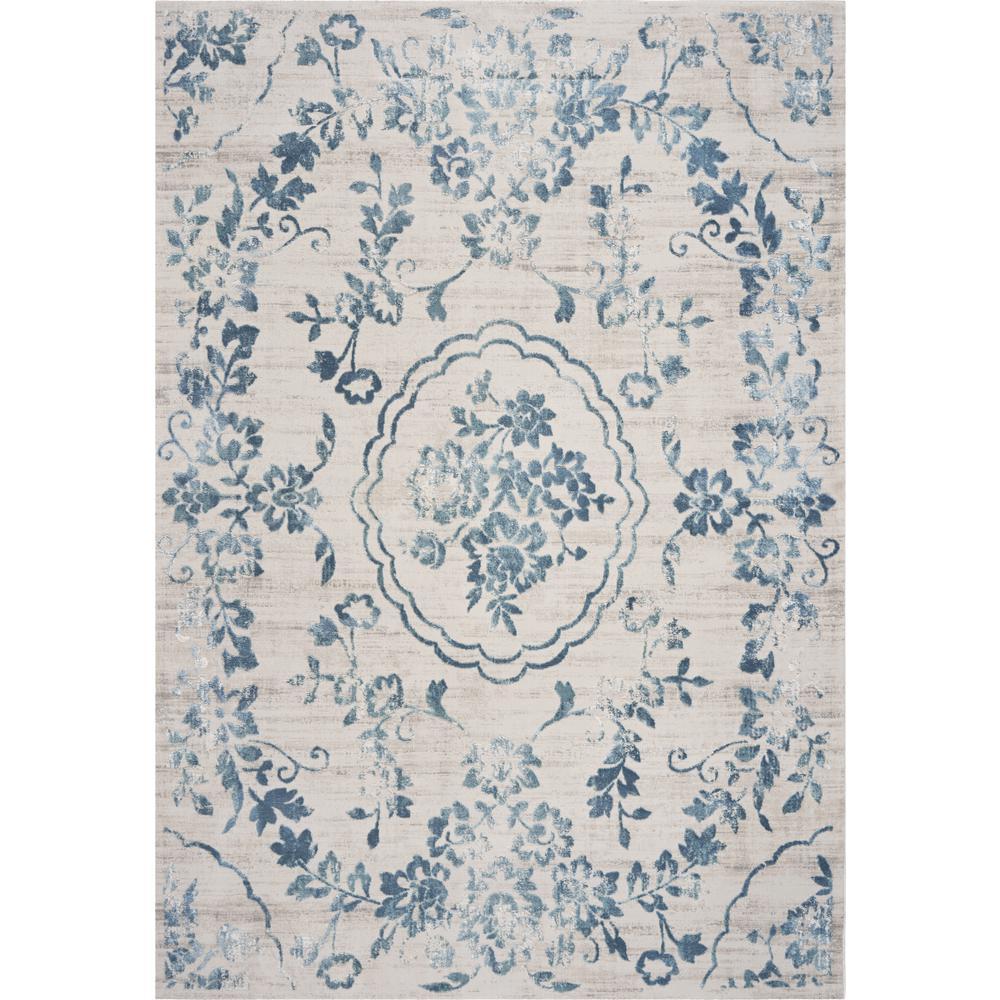Empire Ivory/Blue Flora 8 ft. x 11 ft. Vintage Floral Area Rug