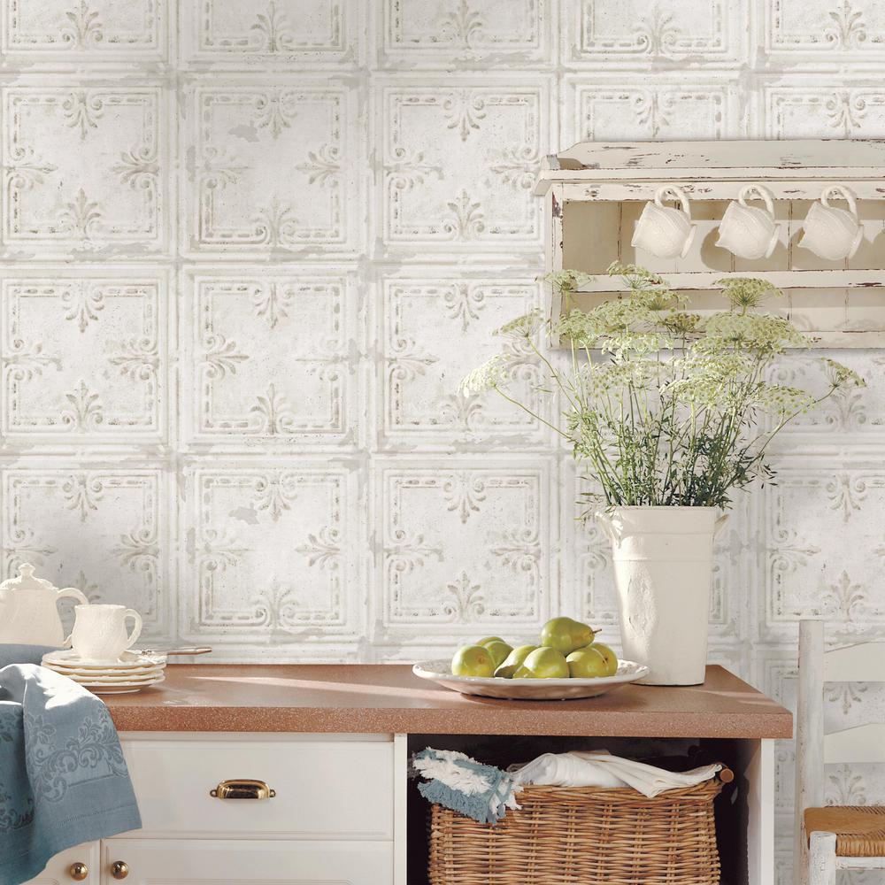 Tin Tile White Vinyl Peelable Wallpaper (Covers 28.18 sq. ft.)