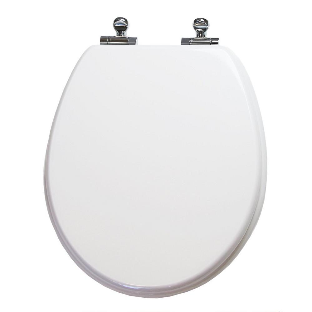TOPSEAT Uni Color Slow Close Round Closed Front Toilet Seat in White