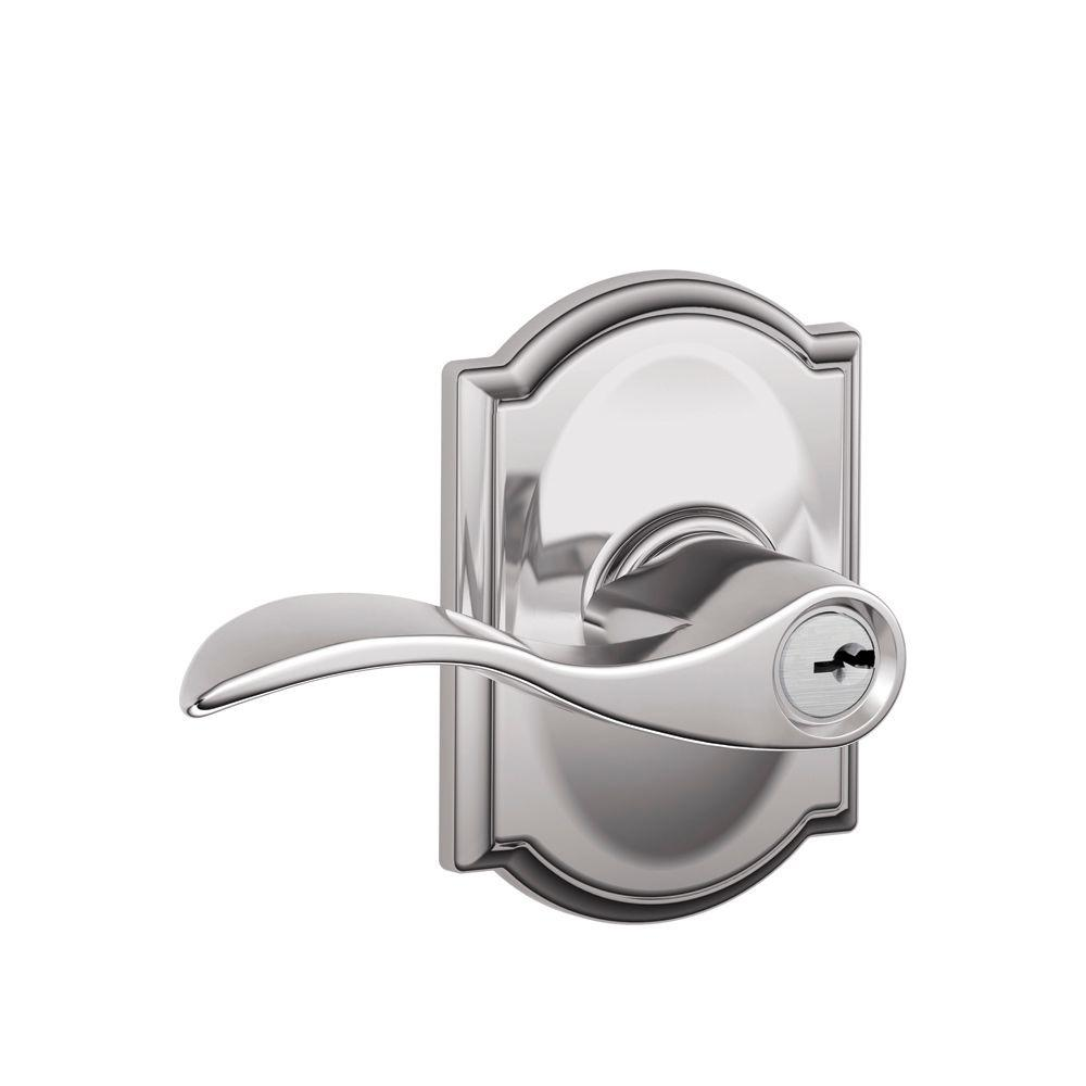 Schlage Camelot Collection Bright Chrome Accent Keyed Entry Lever