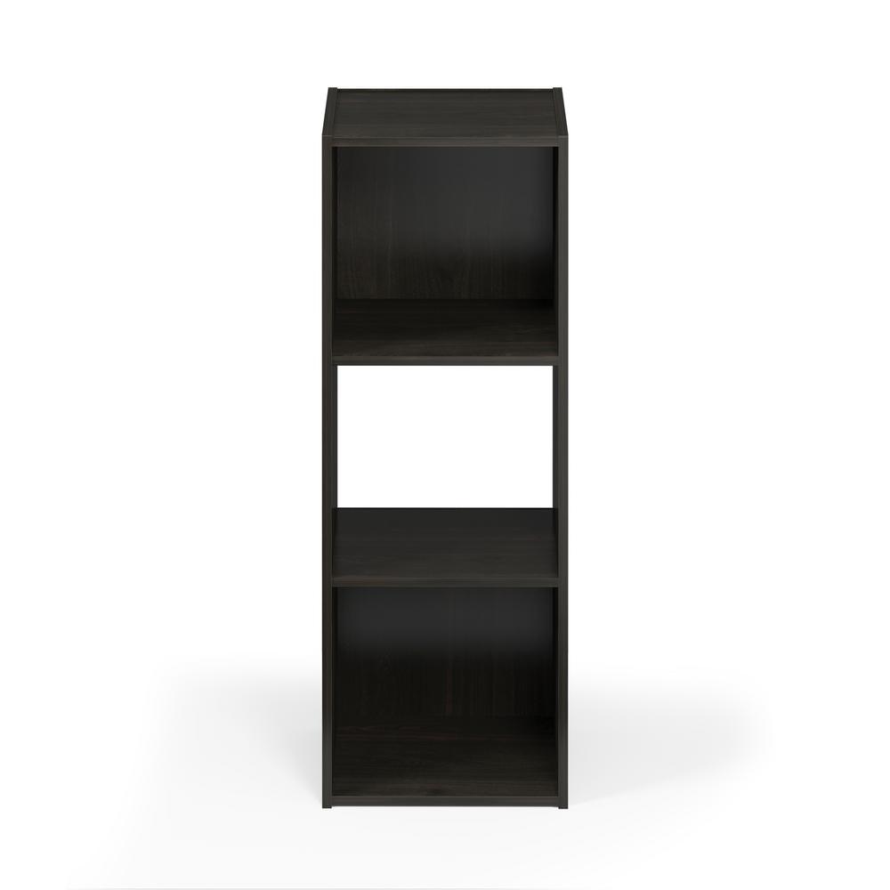 Pelli 35.94 in. Espresso Wood 4-shelf Cube Bookcase with Open Back