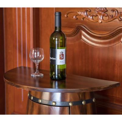 Rustic Lockable Barrel Shaped Wine Bar Cabinet Wooden End Table