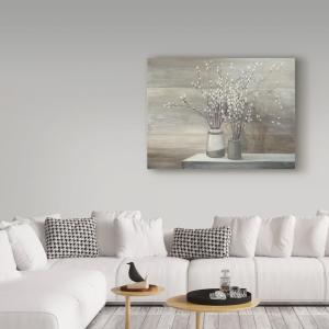 35 in. x 47 in. ''Pussy Willow Still Life Gray Pots'' by Julia Purinton Printed Canvas Wall Art