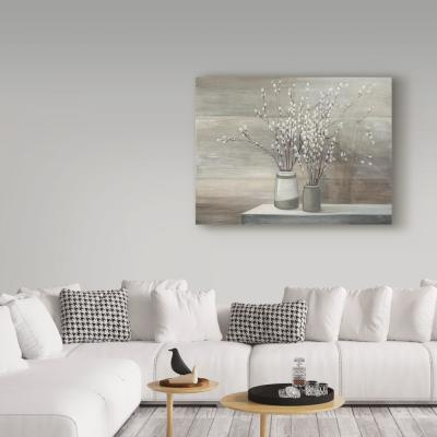 "35 in. x 47 in. ""Pussy Willow Still Life Gray Pots"" by Julia Purinton Printed Canvas Wall Art"