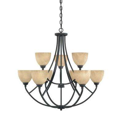 Manhattan 9-Light Burnished Bronze Hanging Chandelier