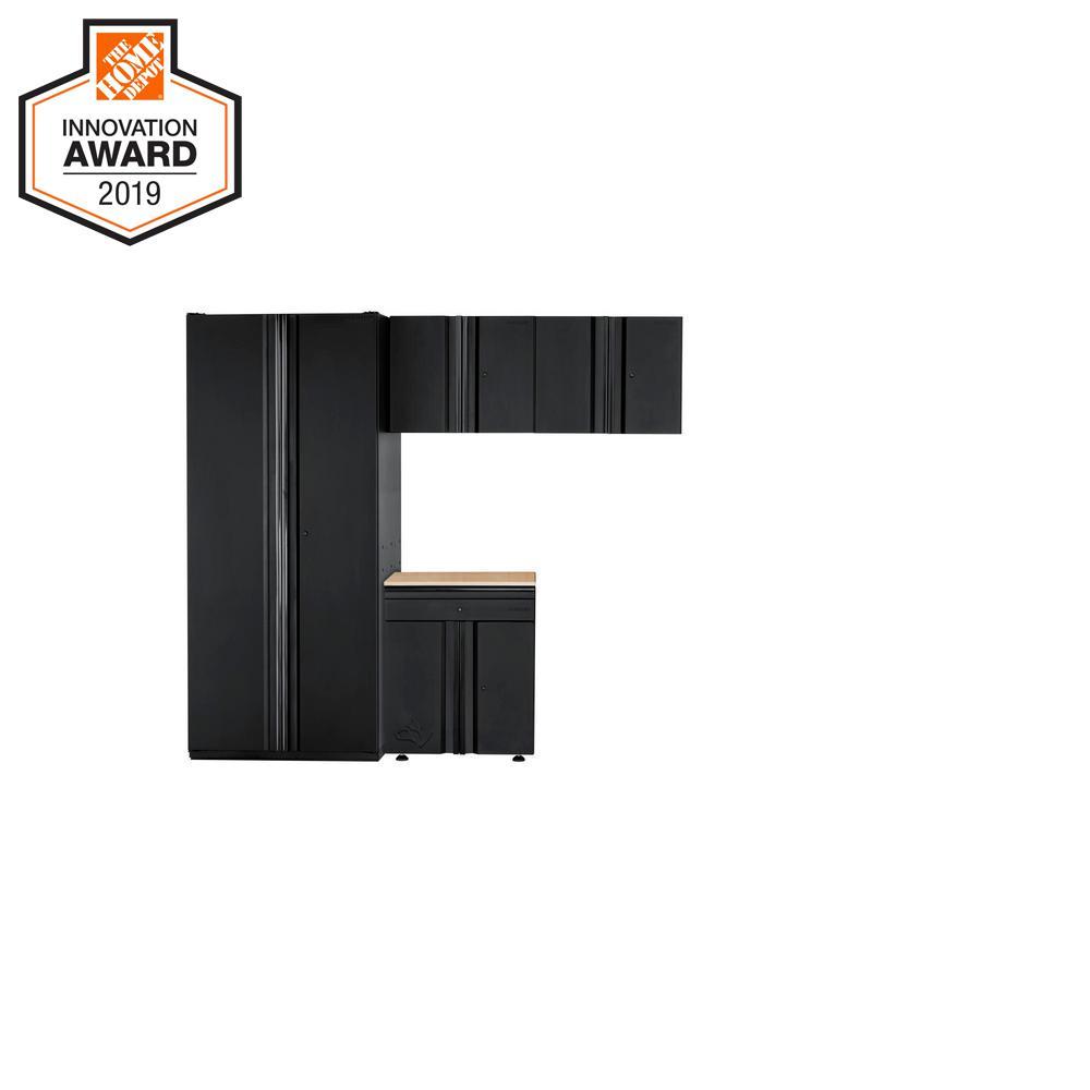 Husky Heavy Duty Welded 92 in. W x 81 in. H x 24 in. D Steel Garage Cabinet Set in Black (4-Piece)
