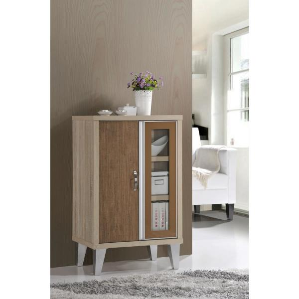 undefined White and Oak Brown Side Cabinet