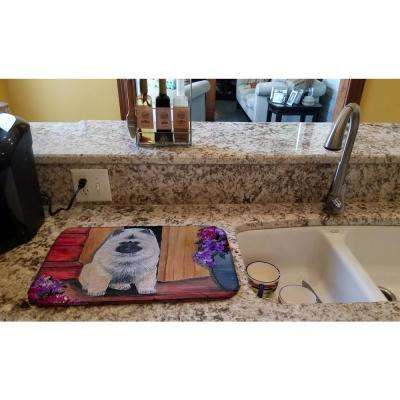 14 in. x 21 in. Multicolor Keeshond Dish Drying Mat