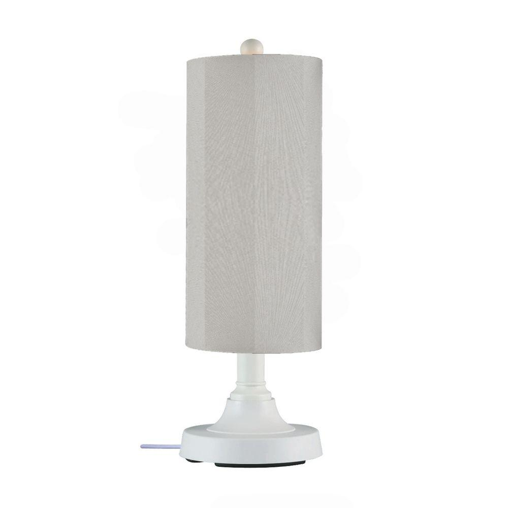 Patio Living Concepts 15 in. Coronado Table Lamp in White with Silver Linen Shade Cylinder-DISCONTINUED