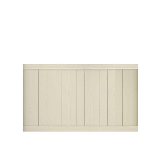Pro Series 4 ft. H x 8 ft. W Tan Vinyl Woodbridge Privacy Fence Panel