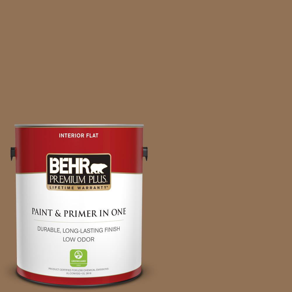 Behr Premium Plus 1 Gal Pmd 107 Shaved Chocolate Flat Low Odor Interior Paint And Primer In One 130001 The Home Depot