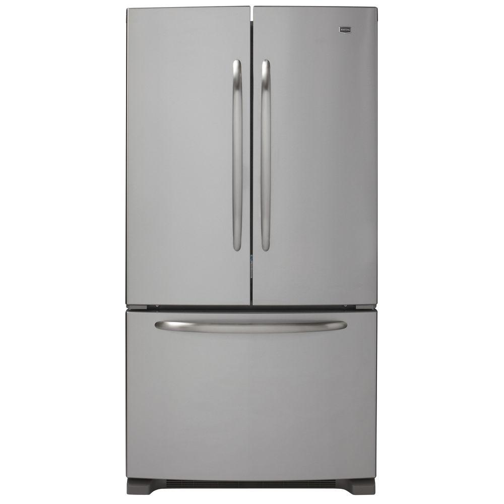 Maytag 24.8 cu. ft. French Door Refrigerator in Monochromatic Stainless Steel-DISCONTINUED