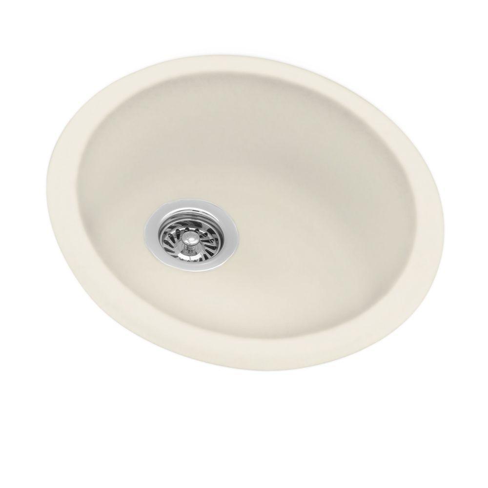Swan Dual Mount Composite 18.5 in. 0-Hole Round Bowl Kitchen Sink in Bone