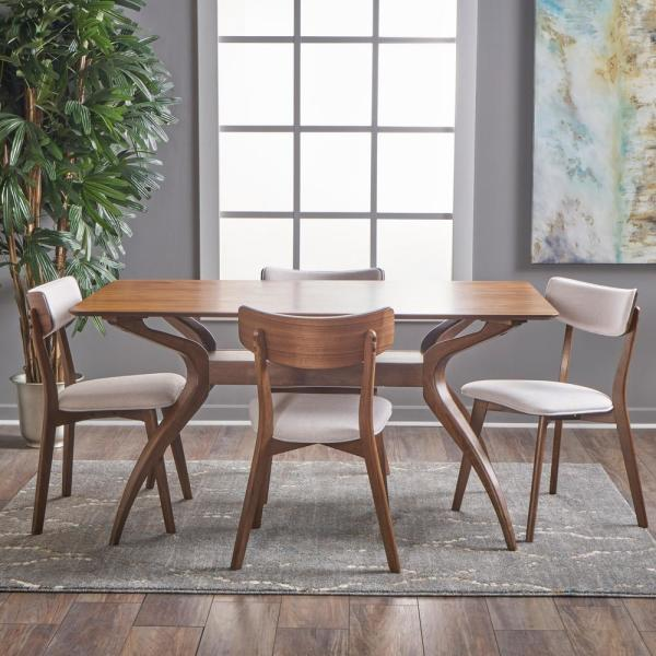 Noble House Nissie 5 Piece Natural Walnut And Light Beige Dining Set 18366 The Home Depot